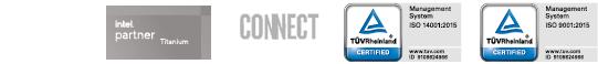 logos de Microsoft Partner, Intel Partner y certificaciones ISO